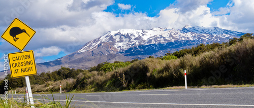 Leinwanddruck Bild Kiwi Crossing road sign and volcano Ruapehu, NZ