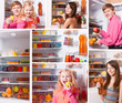collage with people at the refrigerator