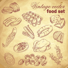 Vintage hand-drawn food set