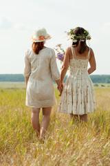 Rear view of  women in summer