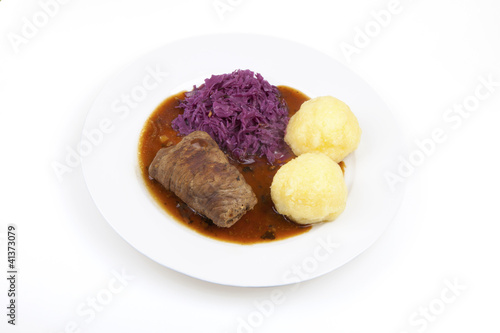 Beef Roulade, red cabbage and knödel