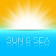 sun and sea, beautiful vector illustration