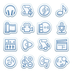 Blue web stickers with icons 8