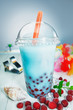 Colourful healthy boba or bubble tea