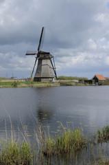 windmill and canal, kinderdijk, netherlands