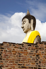 buddha statue in wat yai chai mongkol, ayutthaya, thailand