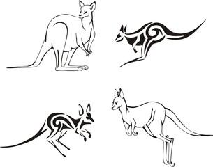 Kangaroos. Vector Set