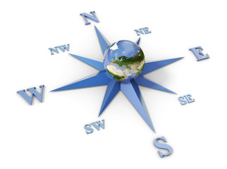 Wind rose with planet earth in the center, isolated on white