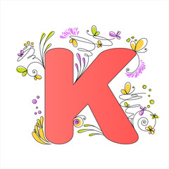 Colorful floral alphabet. Letter K