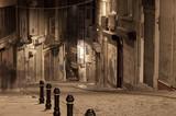 Fototapete Gasse - Nacht - Gebäude