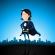 Cartoon Blue Super Lady