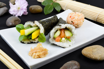Temaki - Japanese sushi. Salmon & Cucumber / Pepper & Pea Shoot