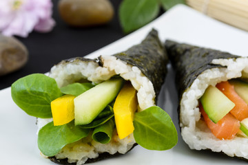 Temaki - Japanese sushi. Pepper & Pea Shoot / Salmon & Cucumber
