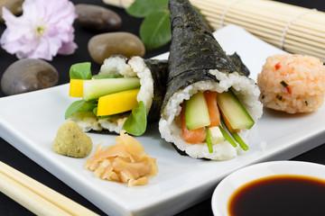 Temaki - Japanese sushi. Salmon & Cucumber / Pepper & Pea Shoot