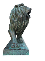 Bronze lion statue isolated on white