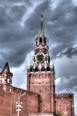 View of the Kremlin Spassky Tower before the storm