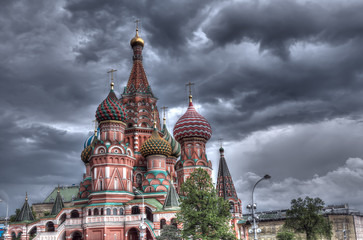 View of St. Basil's Cathedral before a storm