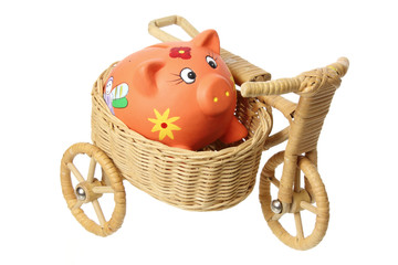 Piggybank on Miniature Basket Tricycle