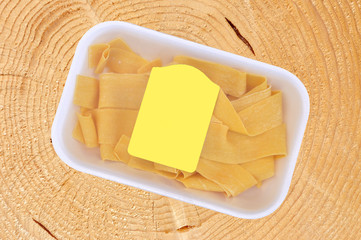 Egg noodles package, pappardelle italian pasta