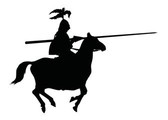 Knight with lance on horseback. Vector silhouette