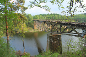Old railway bridge over Pilchowickie lake