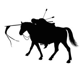 Dead horseman with arrows in back