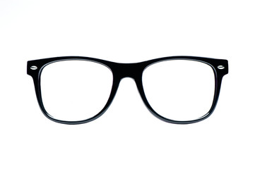 Black nerd Glasses with white background with clipping path