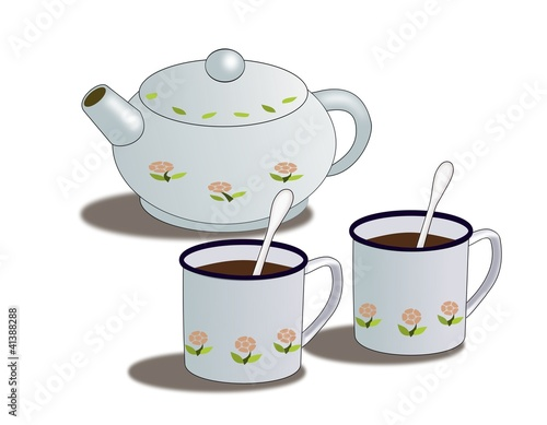 A teapot decorated with flowers and two cups.
