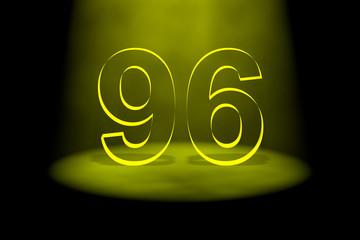 Number 96 illuminated with yellow light