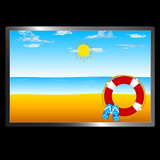 beach with sun and flip flop illustration