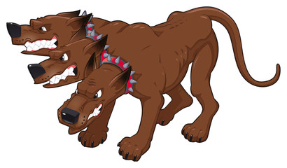 Cerberus. Vector isolated character.