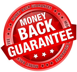 """Button Banner """"Money Back Guarantee"""" Red"""