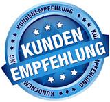 """Button Banner """"Kundenempfehlung"""" blau"""