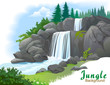 Background Of Waterfall In A J...