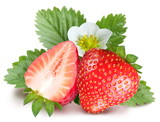 Strawberries with leaves and flower. Isolated on a white backgro