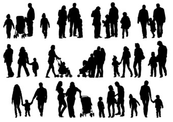 Family and child silhouette