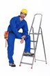 Handyman stood casually with ladder