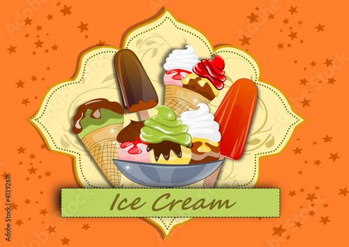Eis, Eisbecher Illustration