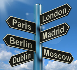 London Paris Madrid Berlin Signpost Showing Europe Travel Touris