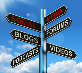 Social Media Signpost Shows Information Support And Communicatio
