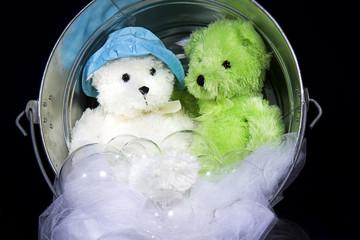 Teddy-Bears Sitting Inside Washtub