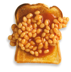 overhead view of beans on toast isolated on a white background w
