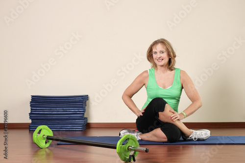 One elderly woman fitness training