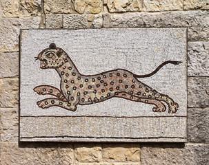 Byzantine mosaic representing a leopard .