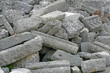 ruins and rubble of a church destroyed by the earthquake