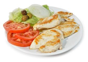 Pechuga de pollo con ensalada.