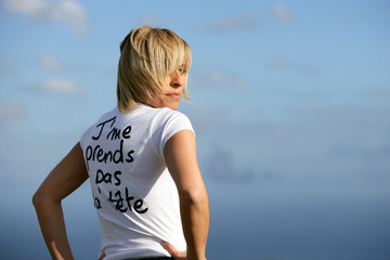 blond woman outdoors