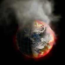 Ziemi na pożar globalnego ocieplenia lub napromieniania