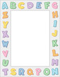 Alphabet Frame, pastel, copy space, school, daycare, education