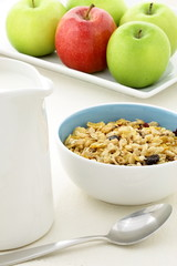 healthy granola and fresh fruits